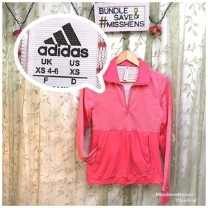 LIKE NEW ADIDAS HOT PINK COLLARED PULLOVER JACKET